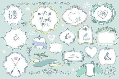 Doodle colored  labels, badges,frame,decor element Winter set Иллюстрация