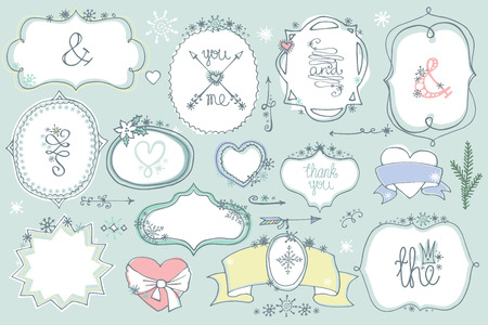 Doodle colored  labels, badges,frame,decor element. Winter set Vector