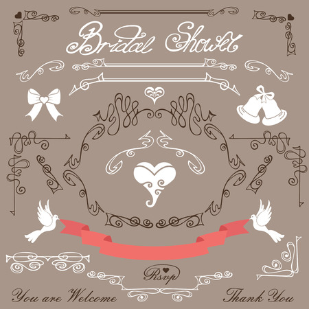 Bridal shower design elements kit Vector