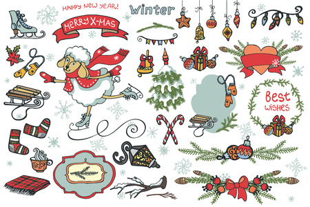 Set of Christmas graphic elements, cute cartoon sheep, Badges,labels,ribbon,branches,Christmas tree,,winter sports equipment.Cute vector illustrations for greeting cards, design template.New year Vector Vector