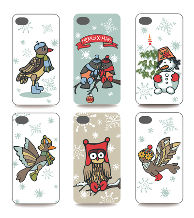 Set of Winter funny  bird and snowman for mobile phone cover. The visible part of the clipping mask. The sample is ready for printing after the release clipping mask.Christmas, new year Vector illustration Vector