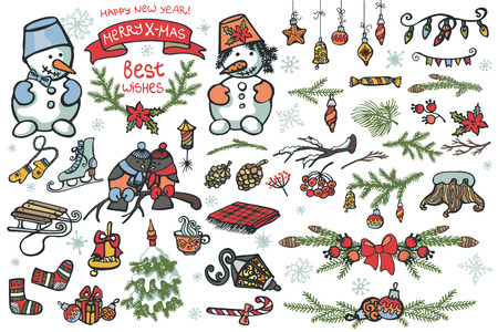 Set of Christmas graphic elements, cute cartoon birds,snowman Badges,labels,ribbon,branches. Vector