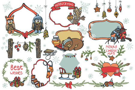 Christmas graphic elements,animals set Vector