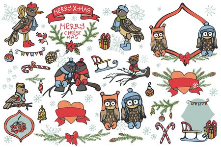 Christmas graphic elements, cute cartoon birds Vector