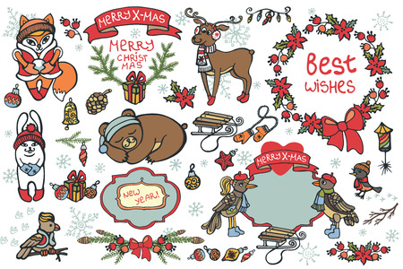 cute cartoon animals: Christmas graphic elements, cute cartoon animals