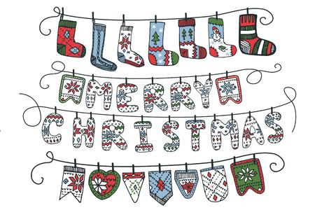 rope folk: Christmas garland of knitted letters,flags,socks Illustration