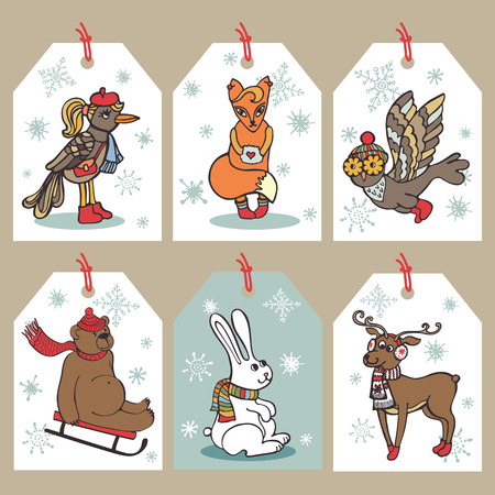funny animal: Navidad etiqueta animales divertidos Vectores