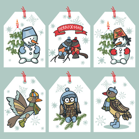Christmas funny birds,snowman tag set Vector