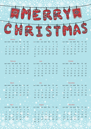 red ribbon week: Christmas calendar.Knitted letters hanging on rope Illustration