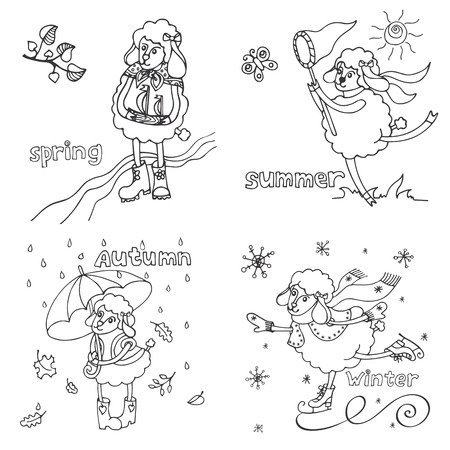 Doodle Sketch in the style of childrens hand drawing. Cute outline sheep girl in time of year. Spring ,summer,autumn,winter Funny animal.Vector design template Vector