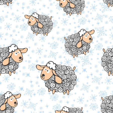 Winter seamless pattern with faunny curly sheep and snowflakes. Vector