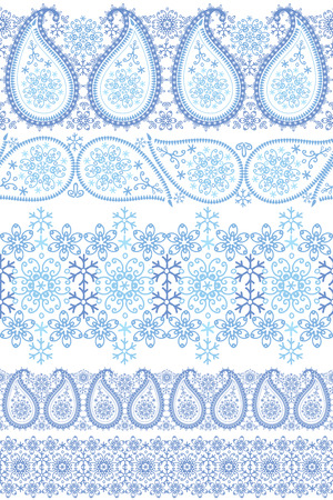 Winter Paisley lace seamless border set Vector