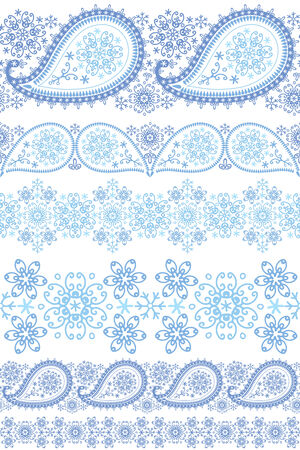 openwork: Turkish cucumbers with Snowflakes.Seamless seamless pattern border set.For fabrics, Wallpaper, backdrop,background.Oriental motif with winter decor. Vector illustration. Illustration