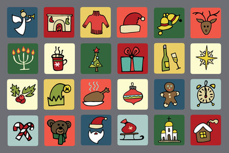 New year,Christmas icons set Vector