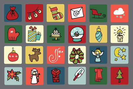 New year,Christmas icons button set Vector
