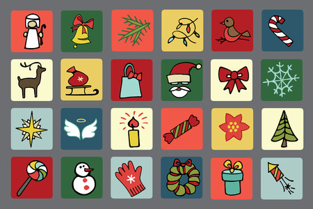 Christmas,new year icons set Vector