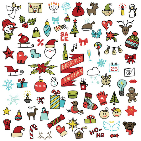 Christmas,new year icons set.Colored Doodle sketchy Vector