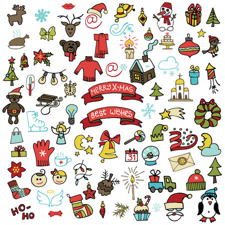 Winter,New year, Christmas colored  icons set .Many different decorative elements for winter holidays for design. Trendy flat style.Doodle sketch in  style of  childs hand drawing. Vector Vector