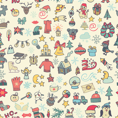Christmas,new year icons seamless pattern. Colored Doodle Vector