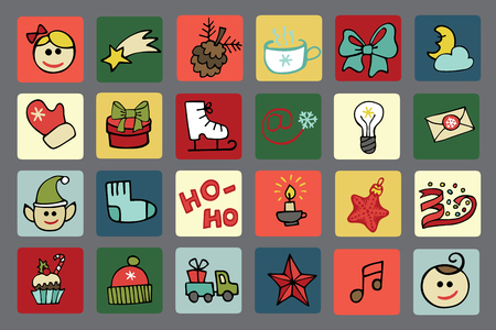 Christmas,New year icons button set Vector