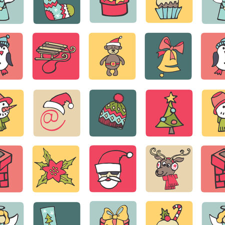 Christmas,new year icons button seamless pattern.Doodles Vector
