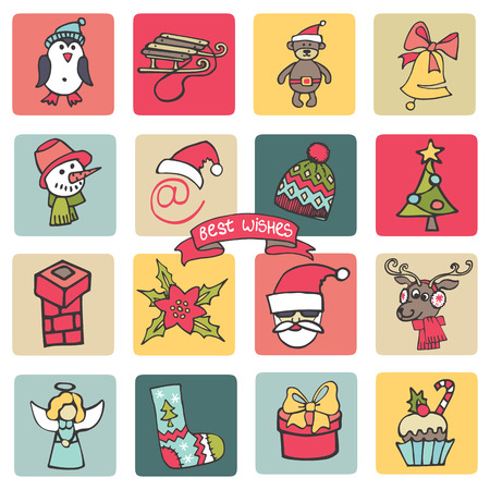 Christmas,new year icons button set. Colored Doodle Vector