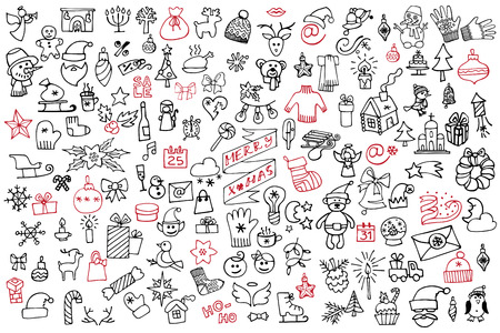 Christmas,new year icons big set.Doodle sketchy Vector
