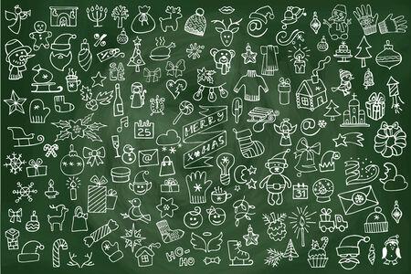 Christmas,new year icons big set.Doodle sketchy chalkboard Vector