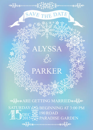 save the date: Winter wedding save date card. Snowflakes wreath Illustration