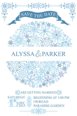 save the date: Winter wedding save date card.Snowflakes circle