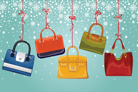 leather goods: Womens handbags on ribbons, snowflakes.Winter fashion Illustration