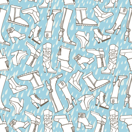 Females shoes,boots,rain seamless pattern.Outline Sketchy Vector