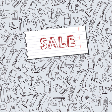 Females shoes,boots sale background.Sketchy notepaper Vector