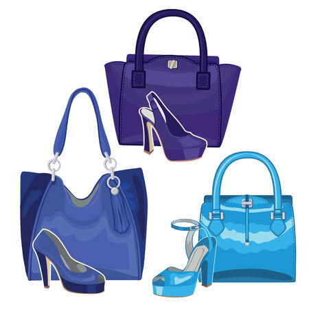 Fashionable blue handbag and shoes. Three set Vector
