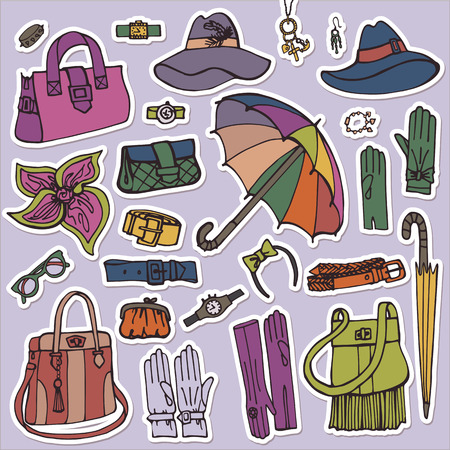 Fashion Female Accessories Set.Hand drowing Sketch.Sticker Vector