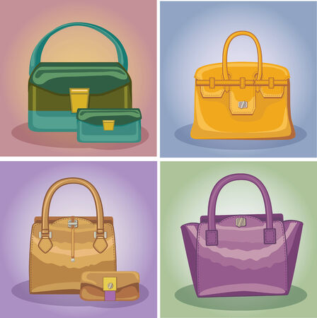 Coloured fashion womens handbags set Vector