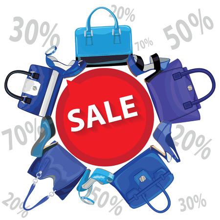 leather goods: Blue fashion womens handbag,high heel shoes.Sale