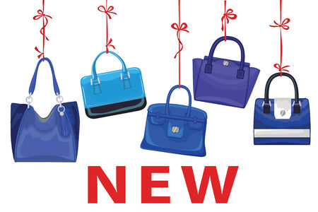 leather goods: Blue fashion womens handbag hang on ribbon.New Illustration