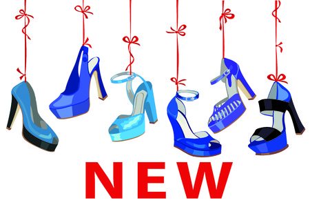 leather goods: Blue fashion womens  shoes hang on ribbon.New