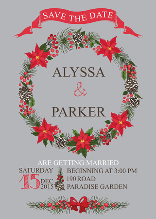 Winter wedding save the date card with Christmas wreath,text,numbers,ribbon, border.Vector design template Vector