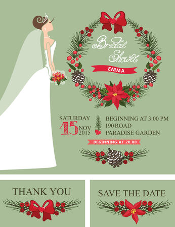 save the date: Winter Bridal shower set with cartoon  bride in white long dress.Christmas wreath,border,ribbons,hand draw text.Retro design template, invitation,save date, thank card