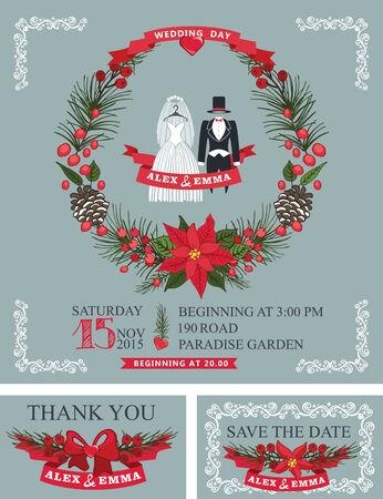 Winter  wedding invitation set.Wedding wear,christmas wreath Vector