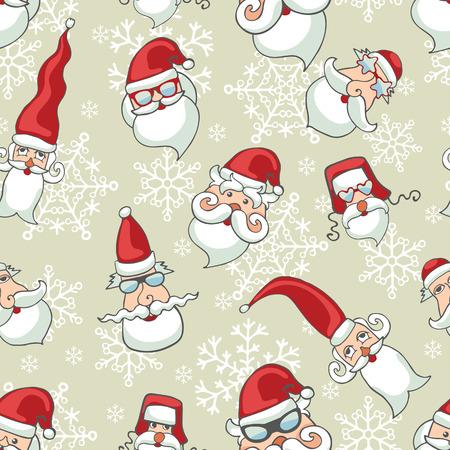 Santa Claus faces ,snowflakes seamless pattern