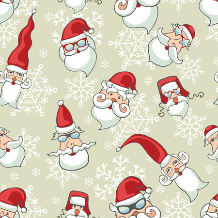 Santa Claus faces ,snowflakes seamless pattern