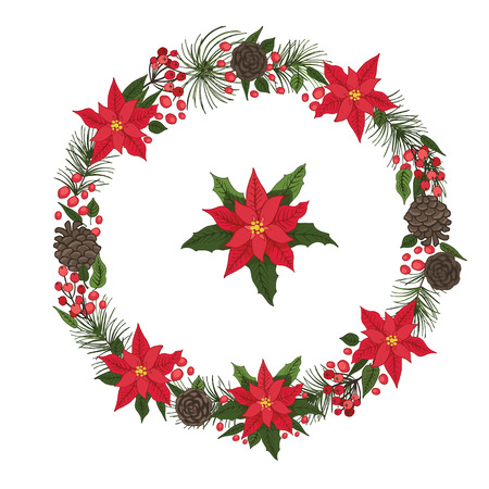Merry Christmas and New Year Wreath Vector