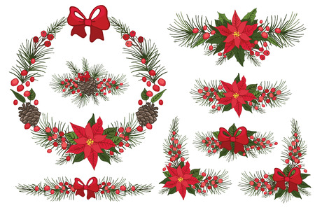 poinsettia: Merry Christmas and New Year Wreath,group Illustration