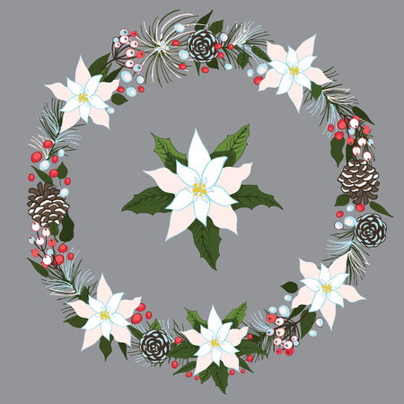 Merry Christmas and New Year Wreath with snow Vector