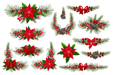 pine decoration: Merry Christmas and New Year border,group