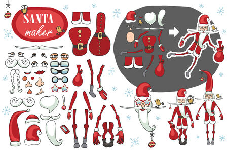 Constructor or Santa Claus. Faces,body part.hats,mustache,beard,glasses to create different Santa Claus. Easy to make your Santa.Humorous Christmas,new year.Vector set