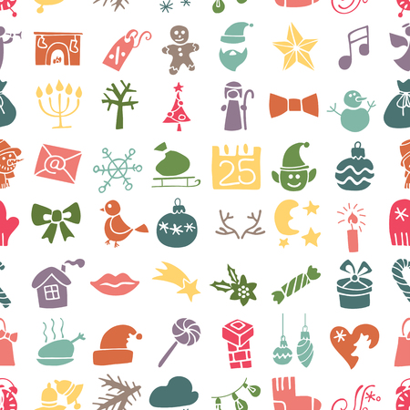 Winter,New year, Christmas Vector.Silhouetteof colored icons  set in  seamless pattern for winter holidays . Trendy flat style.Doodles sketch style.For Backdrop,background,fabric,Wallpaper. Vector